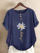 Summer Blue Casual Floral-Print Short Sleeve Round Neck Shirts & Tops