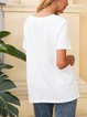 White Letter Casual Paneled Cotton-Blend Shirts & Tops
