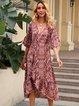 Red Cotton-Blend Half Sleeve Printed Dresses