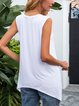 White Geometric Paneled Sleeveless Shirts & Tops