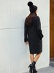 Black Letter Shift Crew Neck Long Sleeve Dresses