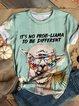 Plus Size Animal Cotton-Blend Vintage Crew Neck Shirts & Tops