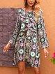 Black Crew Neck Long Sleeve Floral-Print Cotton-Blend Dresses