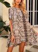 Coffee Half Sleeve V Neck Cotton-Blend Dresses