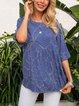 Blue Crew Neck Half Sleeve Boho Paneled Shirts & Tops