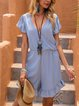 Blue Ruffled V Neck Cotton-Blend Boho One-Pieces