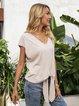 Apricot Short Sleeve Boho Cotton-Blend Shirts & Tops
