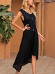 Black Casual Crew Neck A-Line Paneled Dresses