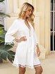 White Long Sleeve Plain Paneled Dresses