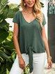 Green Plain Casual V Neck Cotton-Blend Shirts & Tops