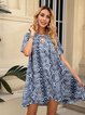 Blue Short Sleeve Crew Neck Leopard Cotton-Blend Dresses