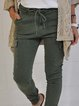Deep Green Pockets Vintage Cotton-Blend Pants