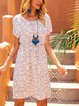 Blue Paneled Short Sleeve Dresses