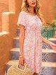 Pink Crew Neck A-Line Short Sleeve Dresses