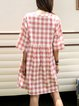 Pink Short Sleeve A-Line Checkered/plaid Cotton-Blend Dresses