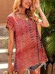 Orange Cotton-Blend Short Sleeve Boho V Neck Shirts & Tops