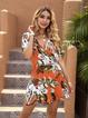 Orange Short Sleeve Printed Boho Plants Dresses