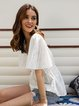 White V Neck Bell Sleeve Cotton-Blend Shirts & Tops