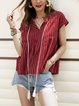 Red Striped V Neck Short Sleeve Tops