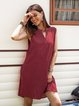 Red A-Line Sleeveless Cotton-Blend Striped Dresses