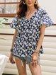 Blue V Neck Cotton-Blend Paneled Short Sleeve Dresses
