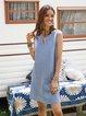 Blue Paneled Casual Cotton-Blend Dresses