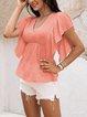 Orange Cotton-Blend V Neck Paneled Short Sleeve Shirts & Tops
