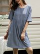 Blue Cotton-Blend Short Sleeve Printed Swing Dresses