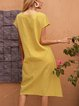 Yellow A-Line Boho V Neck Short Sleeve Dresses