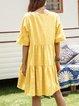 Yellow V Neck Paneled Short Sleeve Casual Dresses