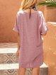 Pink Cotton-Blend Boho Shift Crew Neck Dresses