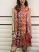 Orange Short Sleeve Shift Cotton-Blend Dresses