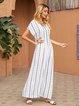 White Geometric V Neck Slit Boho Dresses