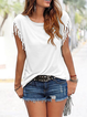 Women Summer Short Sleeve Crew Neck Tassel T-shirt