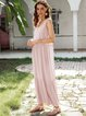 Pink Crew Neck Casual Swing Paneled Dresses