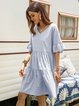 Blue Gathered Swing Casual Cotton-Blend Dresses