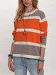 Orange Casual Cotton-Blend Shift Sweater