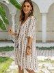 White Boho Cotton-Blend Paneled V Neck Dresses