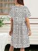 White Geometric Boho A-Line Cotton-Blend Dresses
