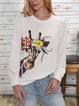 Women Giraffe Print Round Neck Knitted Sweatshirt Long Sleeve Tops