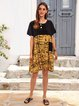 Yellow Short Sleeve Cotton-Blend Dresses