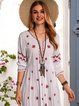 White Swing Tropical Casual Cotton-Blend Dresses