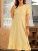Yellow Casual Cotton-Blend Crew Neck Swing Dresses