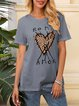Gray Cotton-Blend Abstract Casual Floral-Print Shirts & Tops