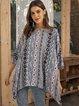 Lightgreen Geometric 3/4 Sleeve Casual Shirts & Tops