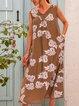 Apricot A-Line Sleeveless V Neck Floral-Print Dresses