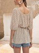 White V Neck Short Sleeve Floral Casual Tops