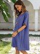 Deep Blue Geometric Casual Crew Neck Cotton-Blend Dresses