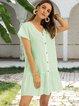Green Swing Paneled V Neck Short Sleeve Dresses