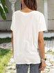 White Casual Printed Short Sleeve Shirts & Tops